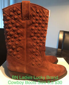 BRAND NEW LUCKY BRAND LADIES SIZE 8.5 COWBOY BOOTS, SUEDE