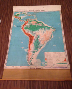 "VINTAGE  1961 WALL SIZE SCHOOL MAP OF SOUTH AMERICA 70""x44"""