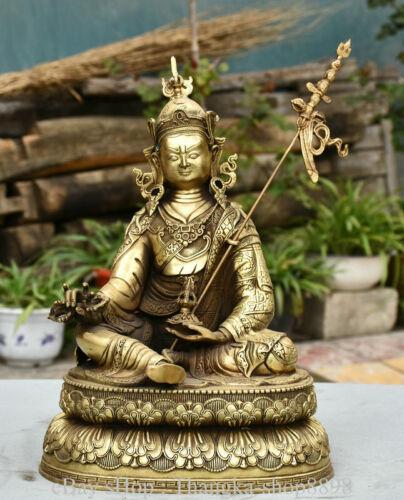 """14"""" Old Tibet Brass Buddhism Seat Guru Padmasambhava Rinpoche Buddha Statue"""