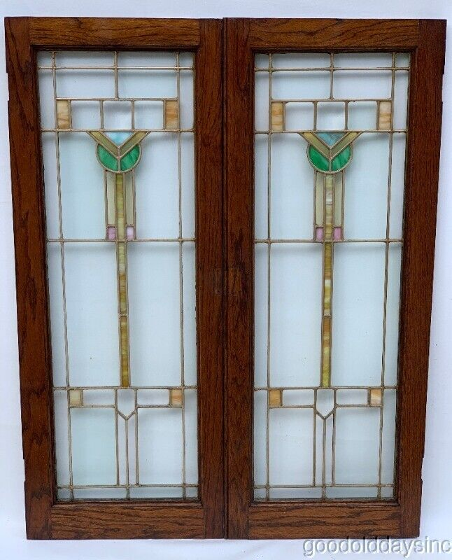 2 Antique Arts & Crafts Stained Leaded Glass Cabined Door / Window Circa 1910