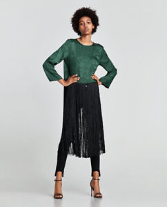 Zara Jacquard top with long fringe - S