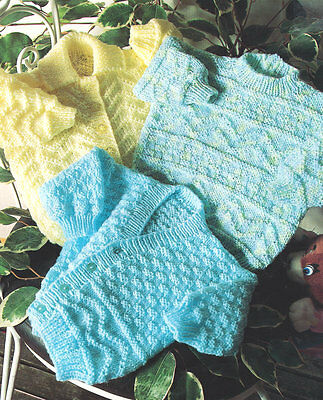 "Baby Textured Cardigans Collar/V Neck & Sweater 16 - 22"" DK Knitting Pattern"