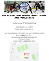 CHARITY GAME and FAMILY SKATE (FAMILY DAY) Feb 19th
