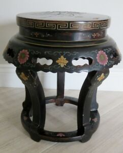 Support a plantes motif oriental bois 18'' Oriental plant stand
