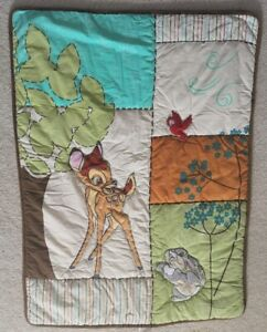 Disney Baby Blanket Stitched Quilt Bambi and Rabbit w/ Red Bird