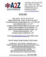 A2Z Safety & Training offers H2S, First Aid/CPR, Global & OSSA