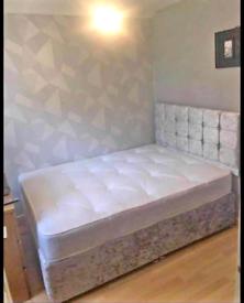 Plush velvet Divan bedframes with Headboard & 10 inch Memory Mattress