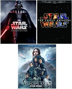 STAR WARS series + THE FORCE AWAKENS + ROGUE ONE on blurays