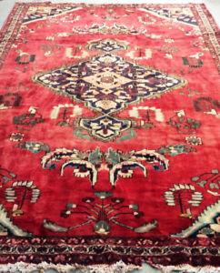 Semi-Antique Persian Rug,Wool,Red Carpet,10.5 x 7ft,Handmade