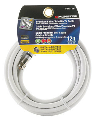 Premium Cable/Satellite TV Cable Digital Audio/Video White 12 Ft by Monster  Monster Cable Satellite Tv