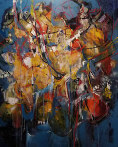 LARGE ONE-OF-A-KIND ORIGINAL ABSTRACT PAINTING BY RENOWN ARTIST