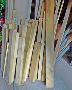 Lumber cuts 2x2 and 2x4, length 2ft-3ft.