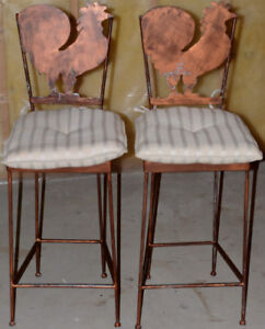 Stools x 2 Hand made Padded Rooster stools