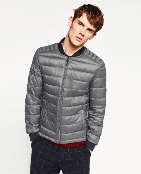 Zara Man Ultralight Soft Packable Quilted Down Puffer Bomber Jacket GREY XLARGE Light Weight