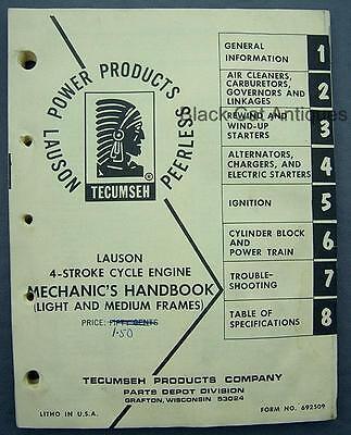 Orig Vintage Lauson 4-cycle Engine 202pg Mechanics Handbook Tecumseh Form 692509