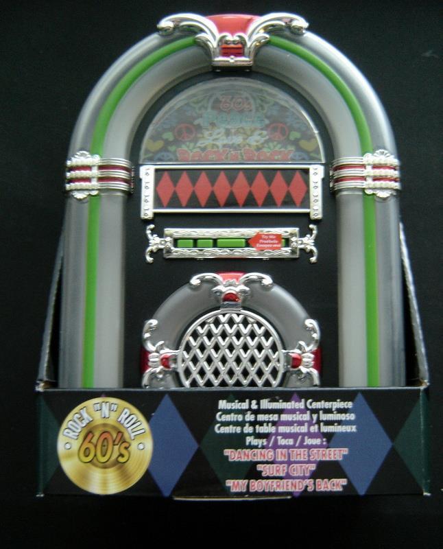 1960s Rock & Roll JUKEBOX Plays 3 Songs Musical Illuminated Centerpiece MIB