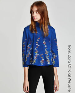 ZARA Woman Embroidered Faux Suede Top in Size S (new with tag)