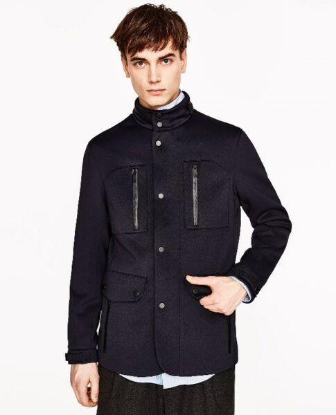 ZARA Technical JACKET COAT with Zips and Buttons BLACK WINTER TRAVEL