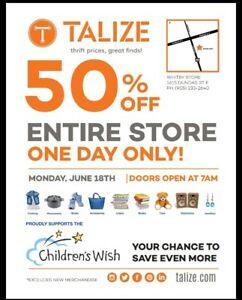 Come Join us at Talize in Whitby for 50% off the Entire store