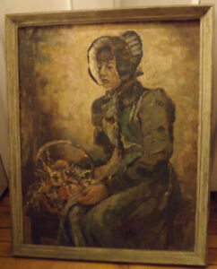 """Fine Large Oil Painting LADY WITH BASKET Titled """"PENSIVE"""" Signed"""