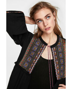 Zara JACKET WITH EMBROIDERED BIB FRONT