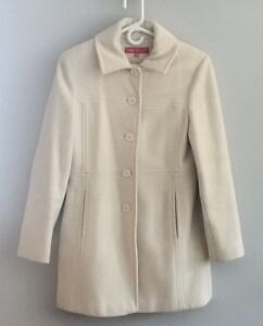 ANNE KLEIN IVORY WOOL FALL/WINTER PEA COAT - Excellent Condition Cambridge Kitchener Area image 1