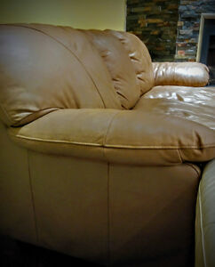 Leather sofa beige brown three seat couch Cambridge Kitchener Area image 2
