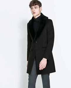 ZARA MAN WOOL COAT with De-tachable collar