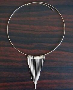 SILVER Plated STRAND HOOP CHOKER NECKLACE.