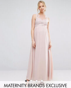 Chi Chi London Maternity Sweetheart Lace Bodice Maxi Dress