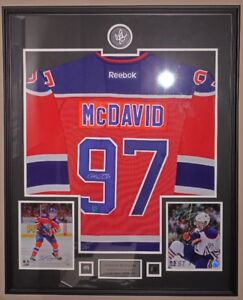 Conor McDavid Autographed Signed Jersey Picture Puck Framed