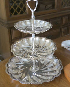 3 tier silver serving platter - beautiful for entertaining