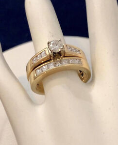 14k yellow gold diamond engagement ring set *Appraised at $7,400