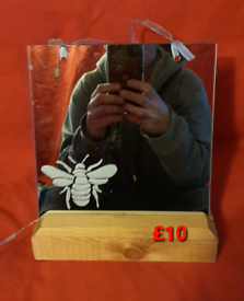 Hand etched mirror