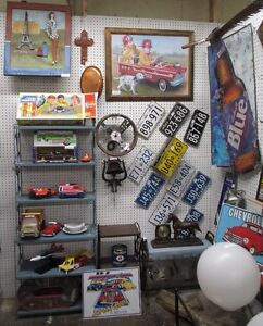TOY CARS, ANTIQUE & VINTAGE LICENSE PLATES, TOOL BOX, TOOLS