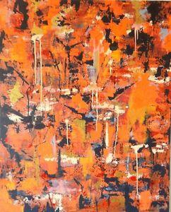 ASIAN MODERN ABSTRACT Huge painting Original art ORANGE X- LARGE