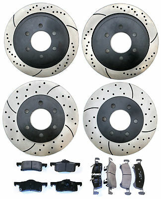 [FRONT + REAR KIT] 4 PERFORMANCE DRILLED SLOTTED BRAKE ROTORS AND 8 CERAMIC PADS