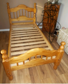 2 pine single bed frame with mattress. Good condition. Delivery avai