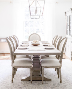 Restoration Hardware dining set (dining table, 8 chairs & hutch)