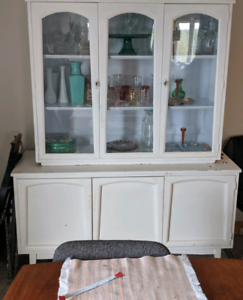 Vintage hutch and antique glasswear