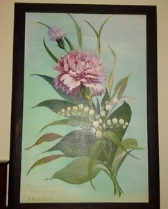 painting of lily of the valley and peony