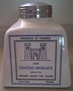 French Ceramic Square Chateau-Margaux Grand Vin Decanter