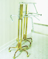 TWO BRASS STANDS WITH ADJUSTABLE/REMOVABLE  CHROME ARMS