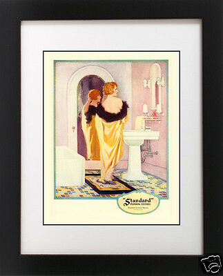 VTG 1920's Yellow BATH Redhead Hair Flapper Girl PINK Bathroom Art Deco -