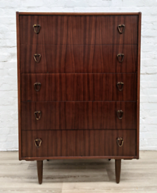 Mid century chest of Five Drawers (DELIVERY AVAILABLE)