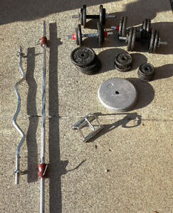 Dumbell, barbell and curl bar with 220 pounds of weights