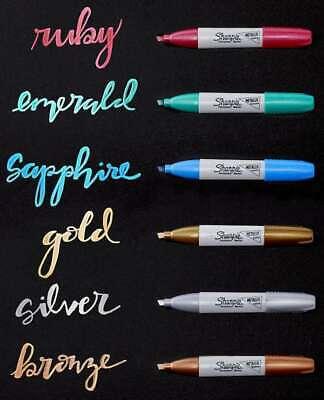 Sharpie Metallic Permanent Markers 6pkg Goldsilverbronzeruby 071641165809