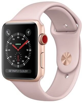 Apple Watch Series 3 42mm Gold Case Pink Sand Sport Band GPS + Cellular