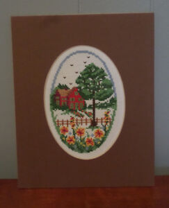 House under a Tree with a Garden Oval Completed Cross-Stitch