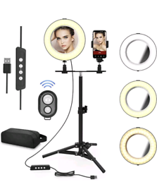 """Selfie Ring Light with Makeup Mirror, 8"""" LED Ring NEW"""